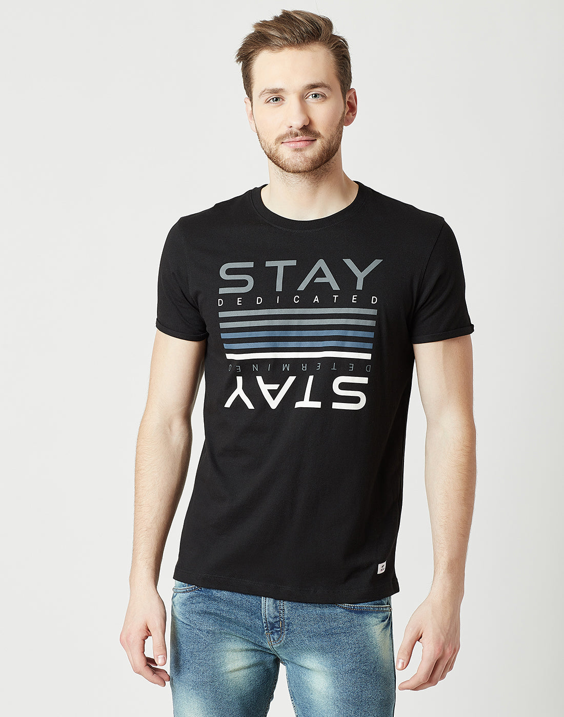 Octave Men Black Printed Tshirt