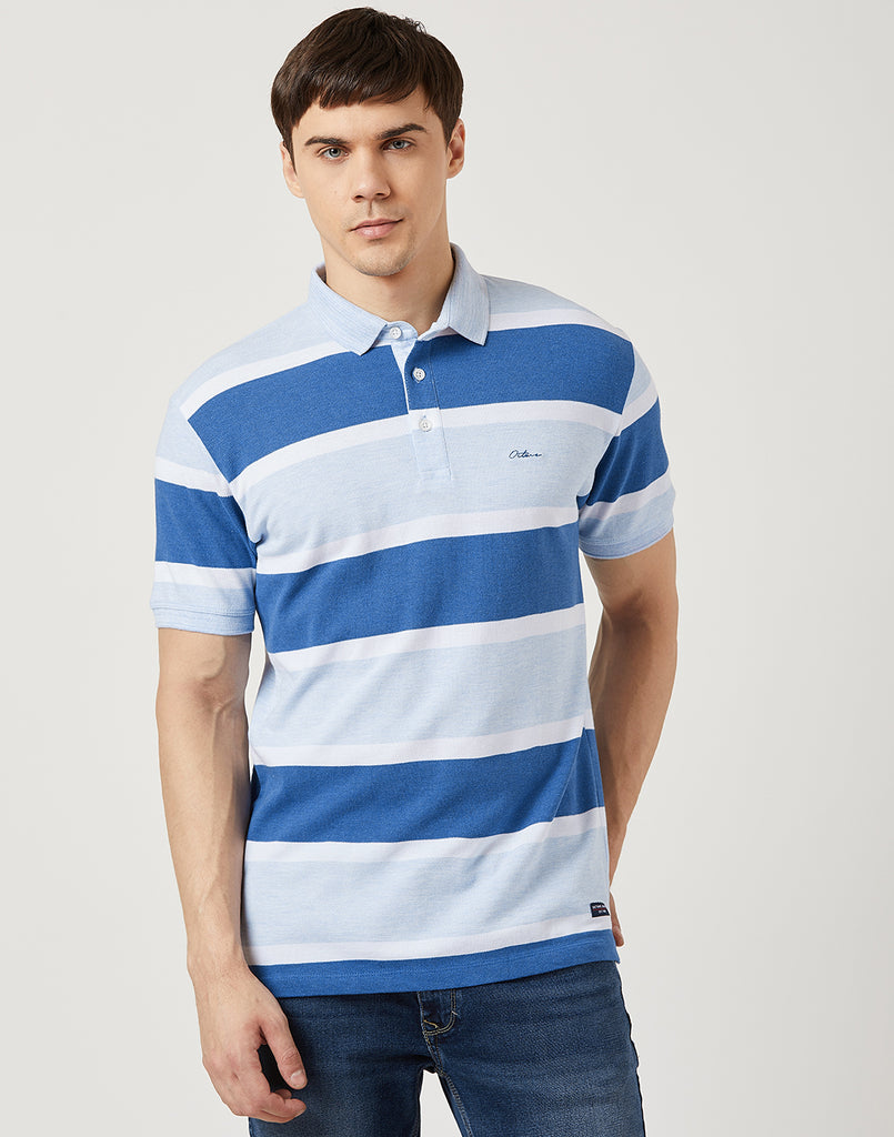 Octave Men Sky Stripe Polo T-shirt