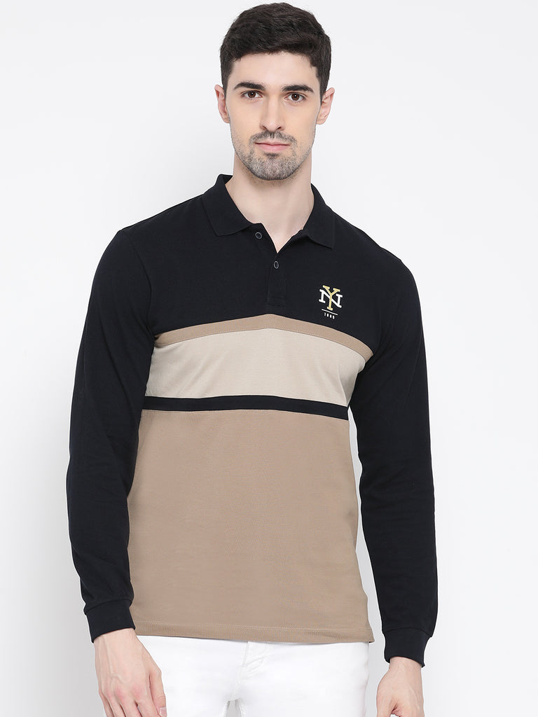 Octave Apparels Khaki-Black T-shirt for Men