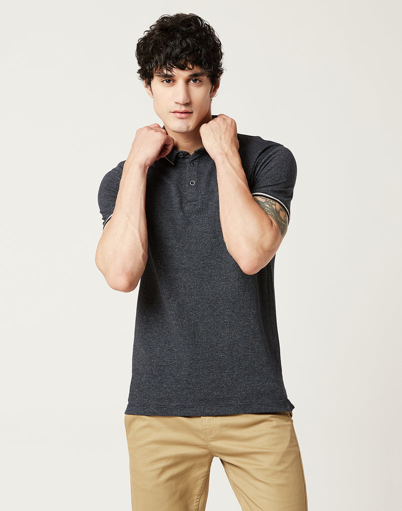 Octave Men Midnight Grey Polo T-shirt