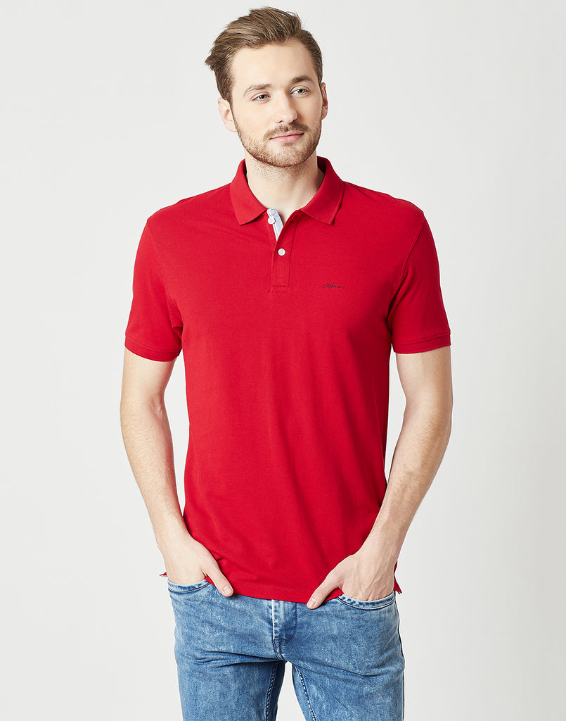 Octave Men Brick Red Polo Tshirt