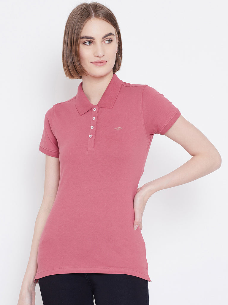 Mettle Apparels light pink colour t-shirt for women