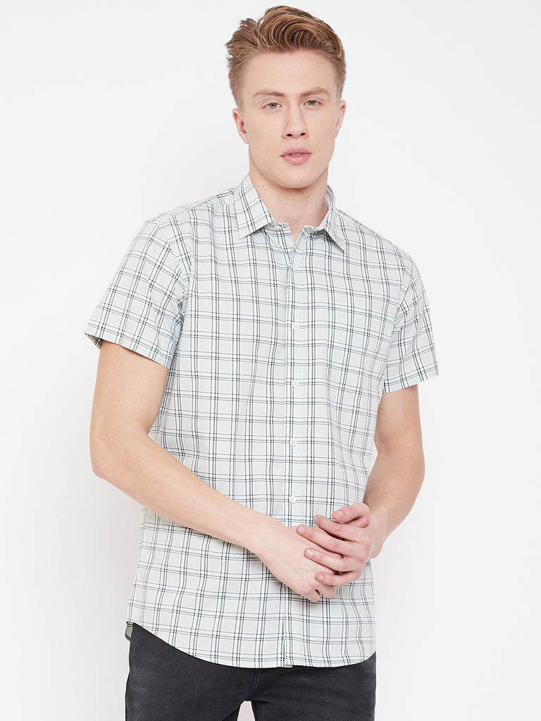 Octave Apparels Bottle Green checkered Shirt for Men