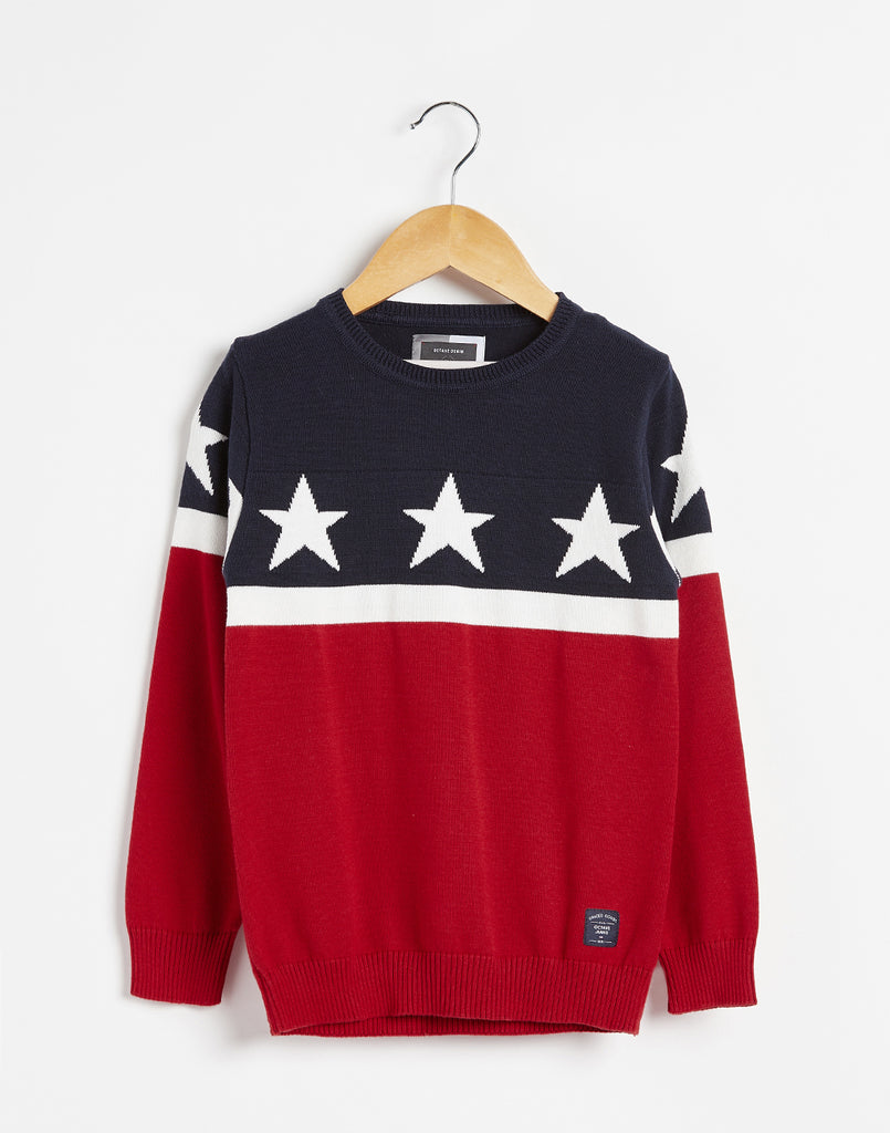 Octave Boys Brick Red & Navy Colourblocked Sweater
