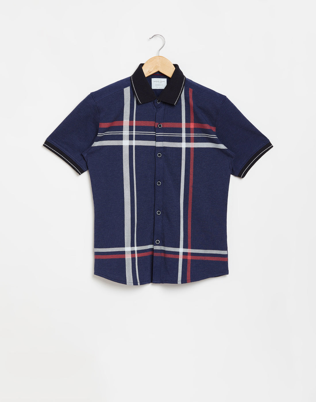 Octave Boys Navy Melange Printed Casual Shirt