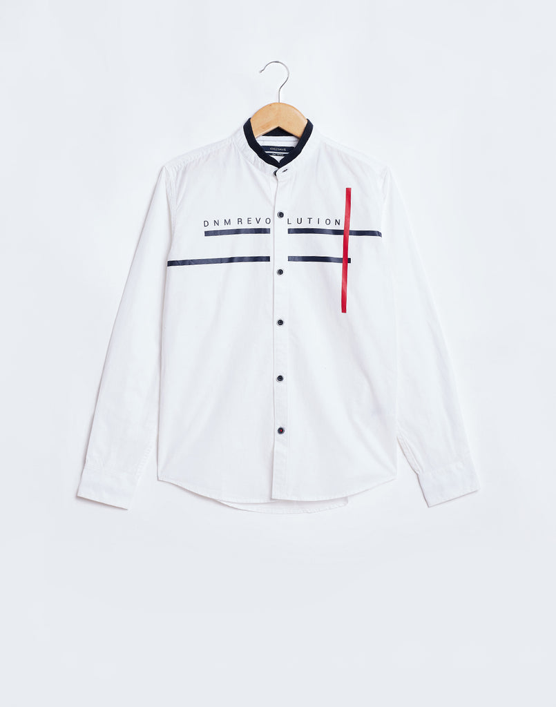 Octave Boys White Printed Shirt