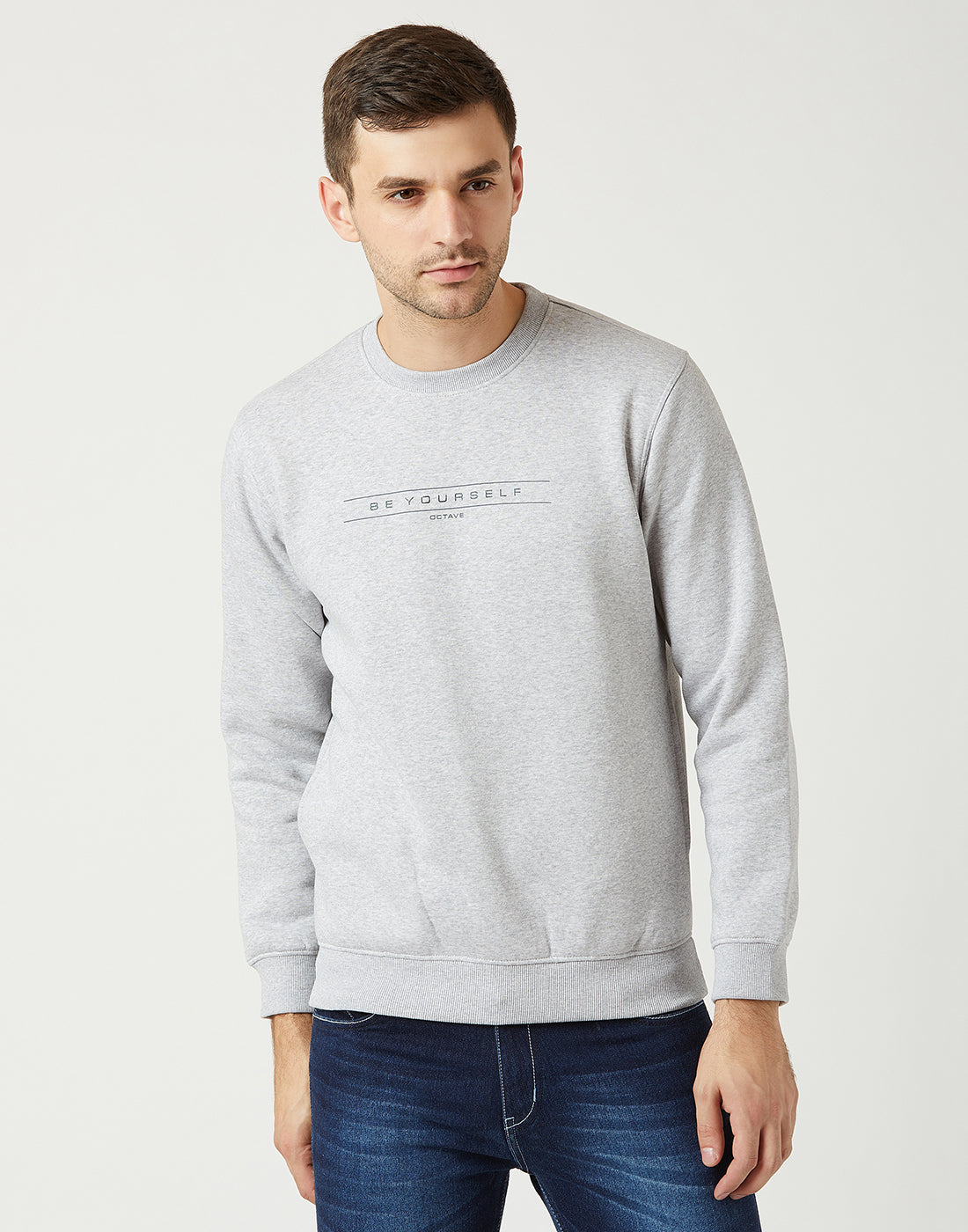 Octave Men Grey Melange Printed Sweatshirt