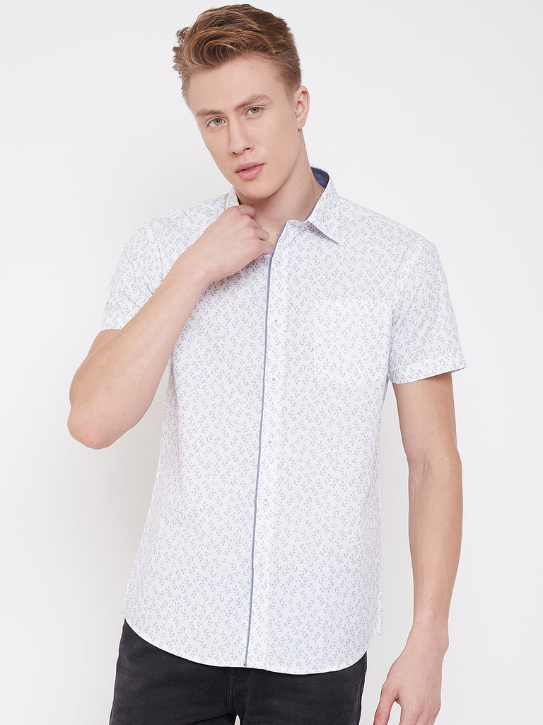Octave Apparels White Checkered Shirt for Men