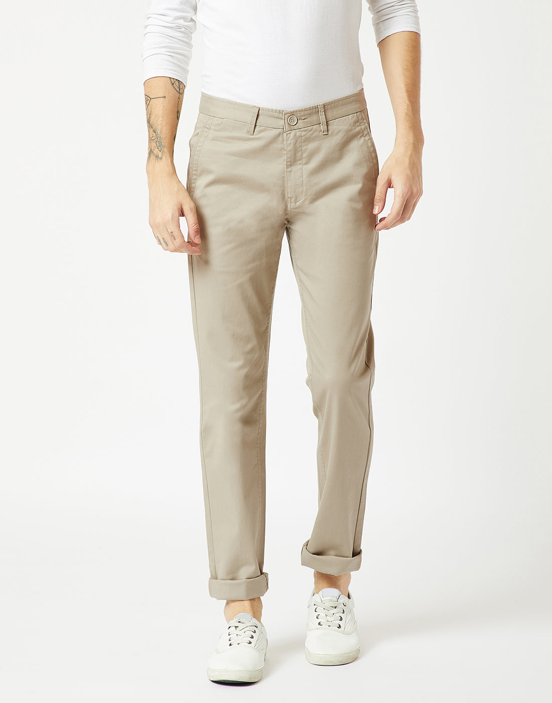 Octave Men Stone Chino Trousers