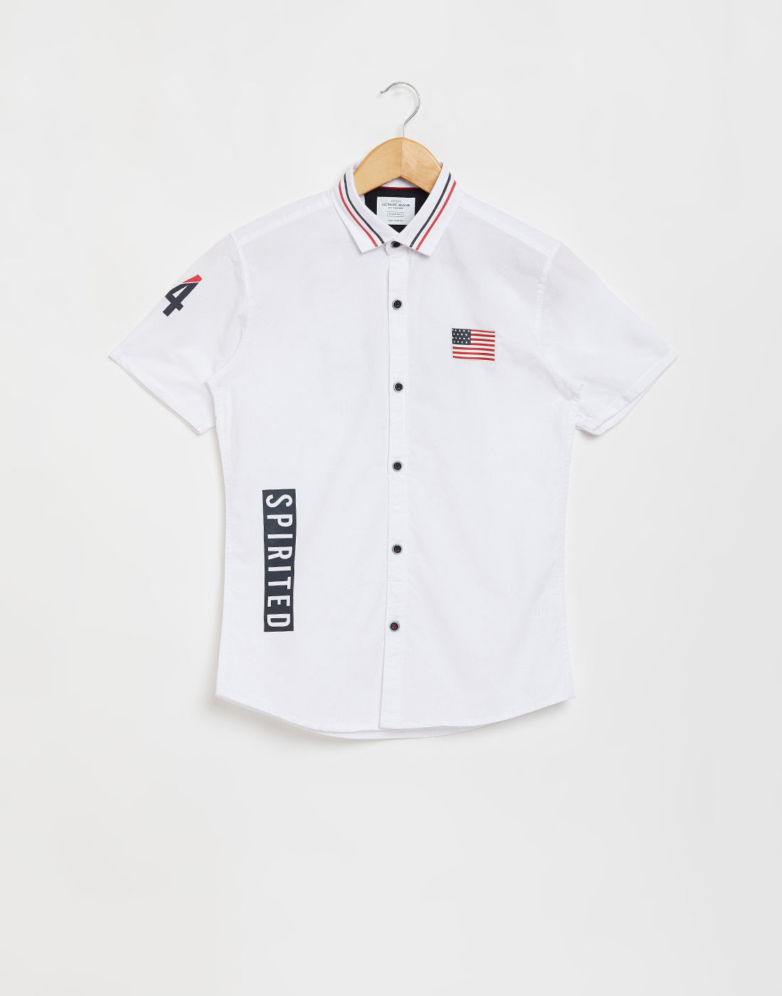 Octave Boys White Printed Casual Shirt