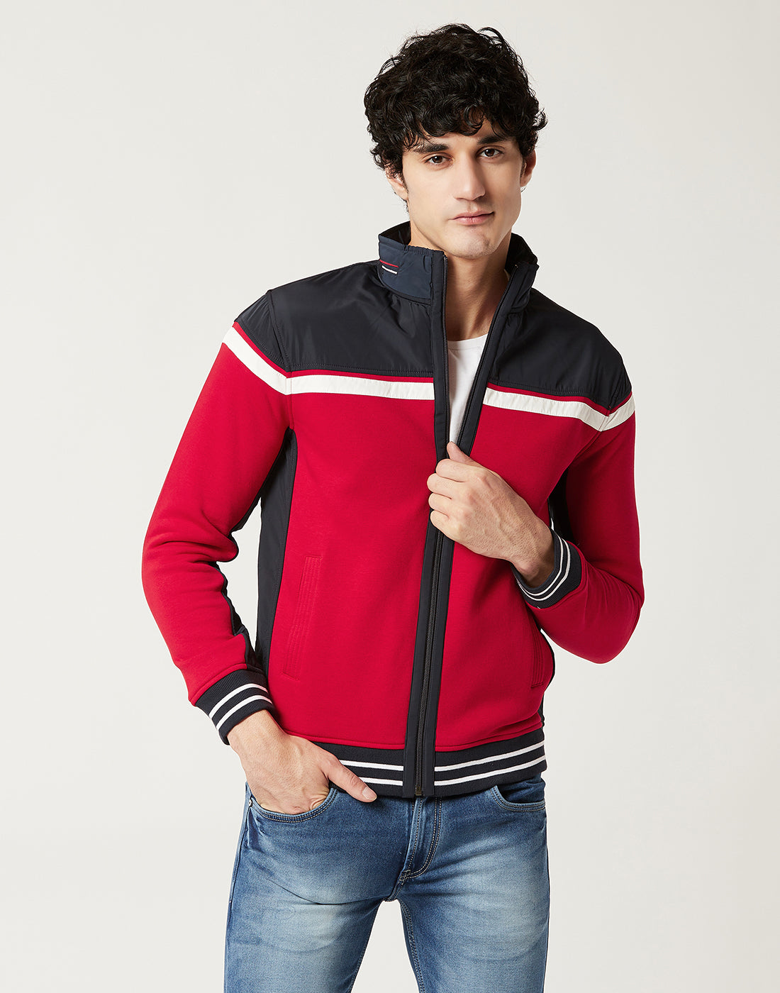 Octave Men Brick Red & Navy Colour blocked sweatshirt