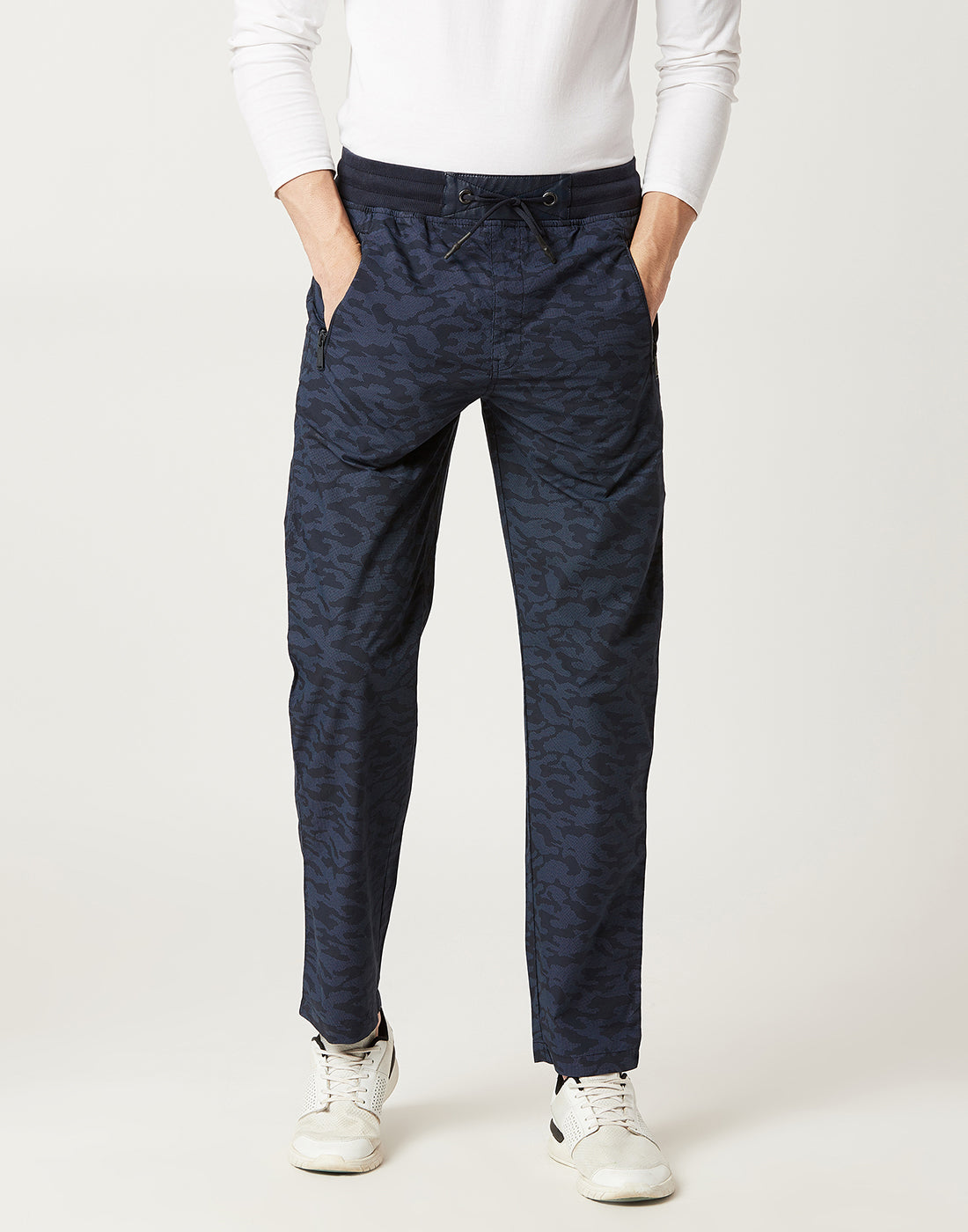 Octave Men Navy Camoflauge Trackpants