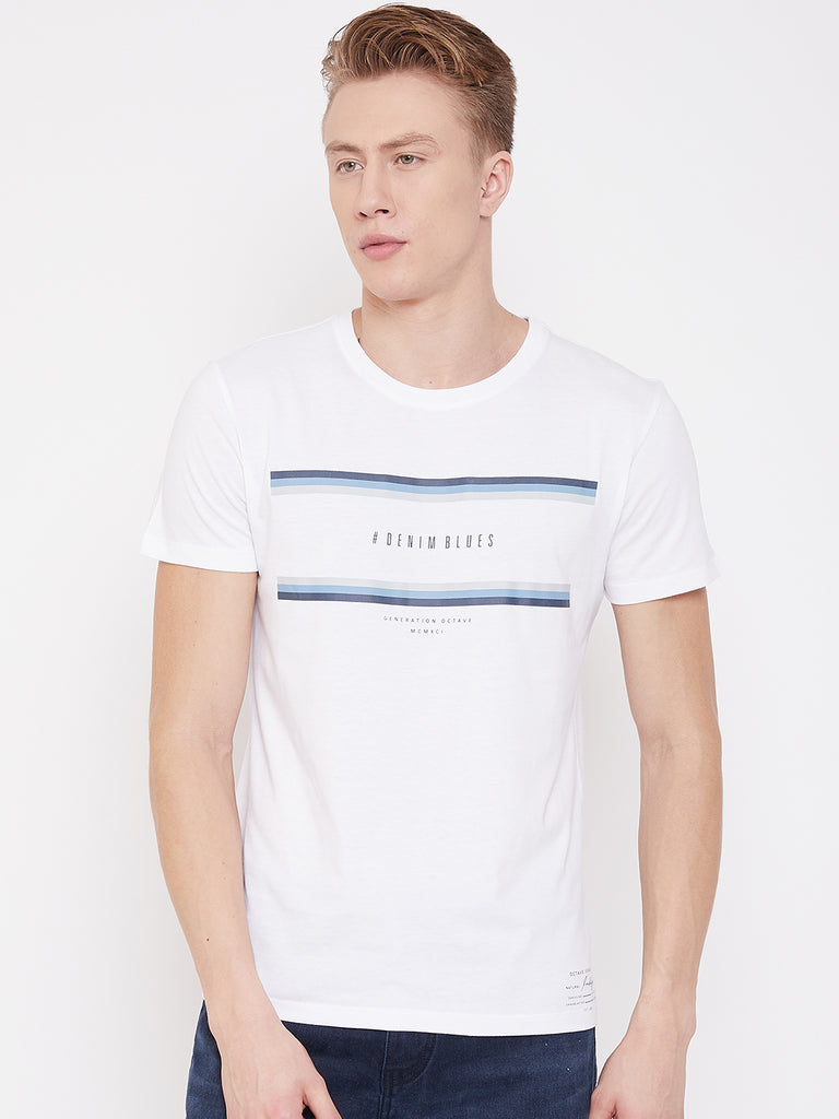 Octave Apparels White T-Shirt for Men