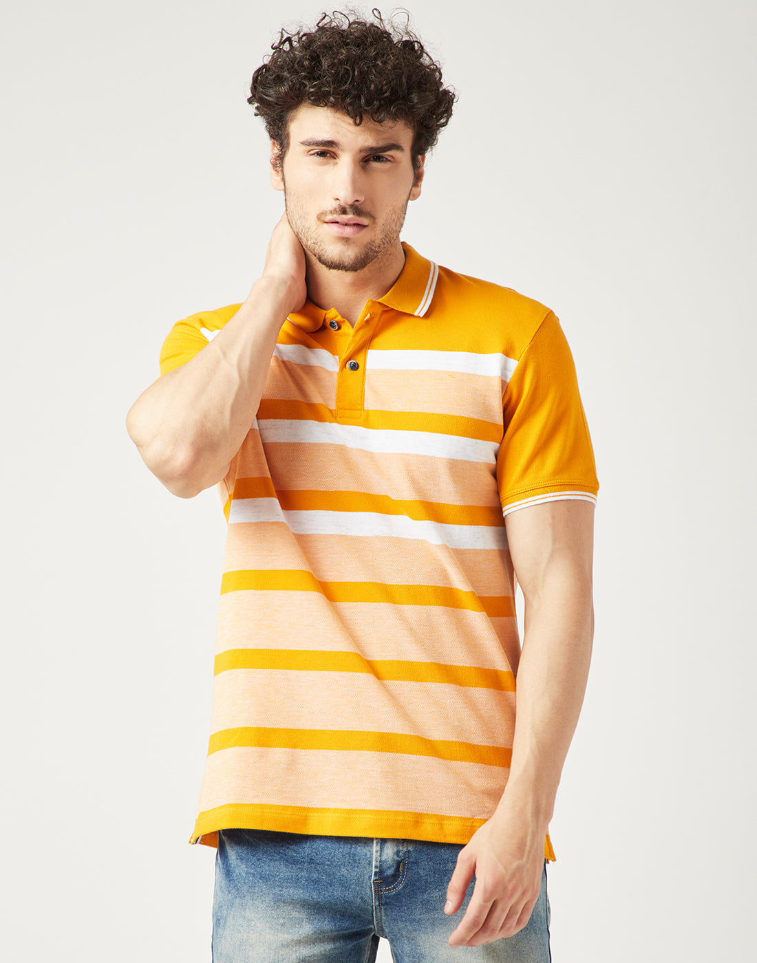 Octave Men Mustard Yellow Striped Polo Tshirt