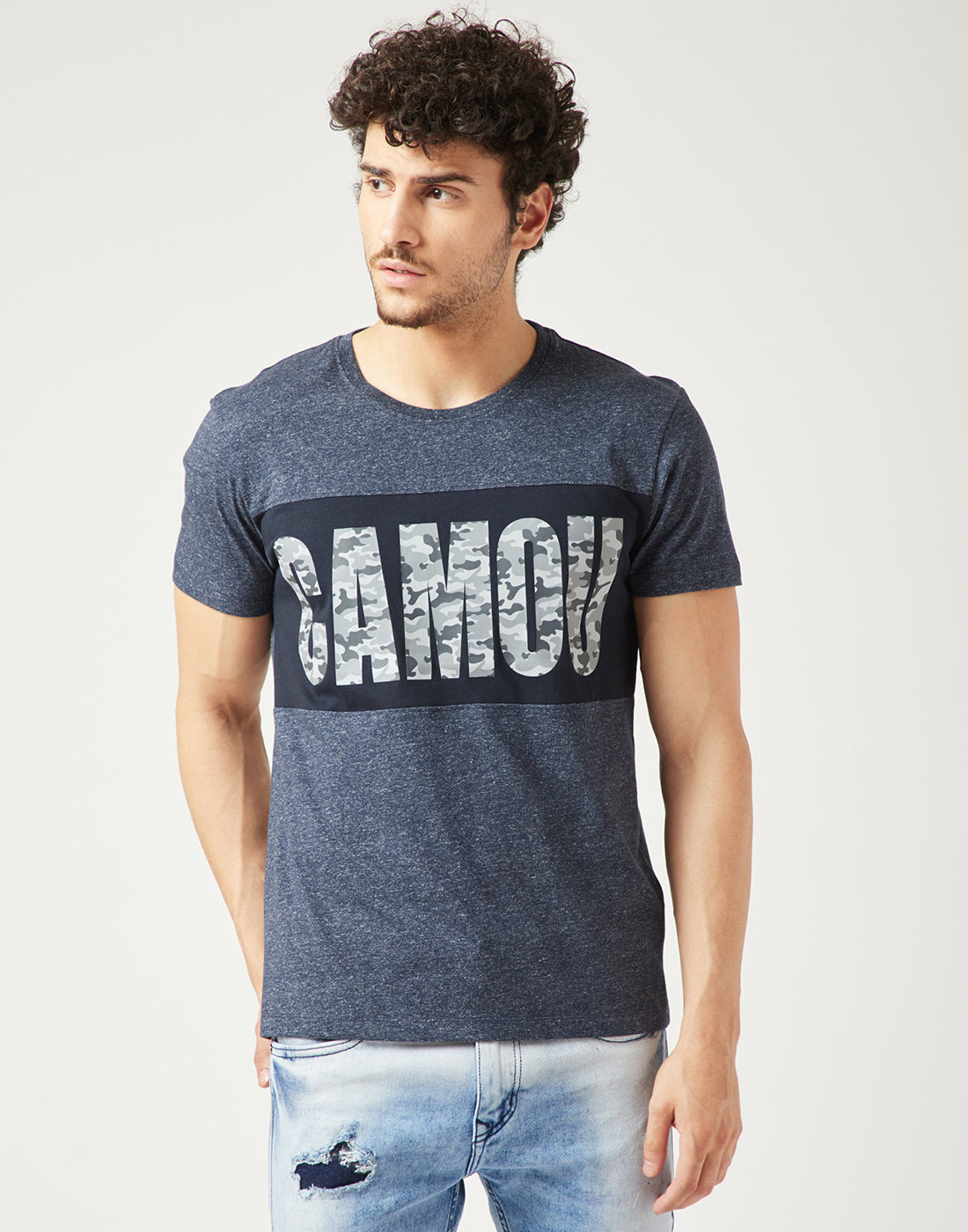 Octave Men Midnight Blue Printed Tshirt