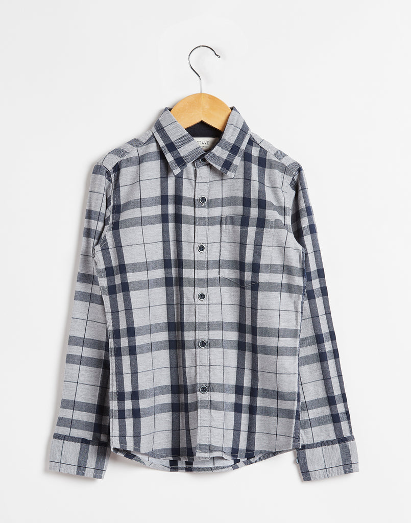 Octave Boys Charcoal-Coloured Checked Shirt