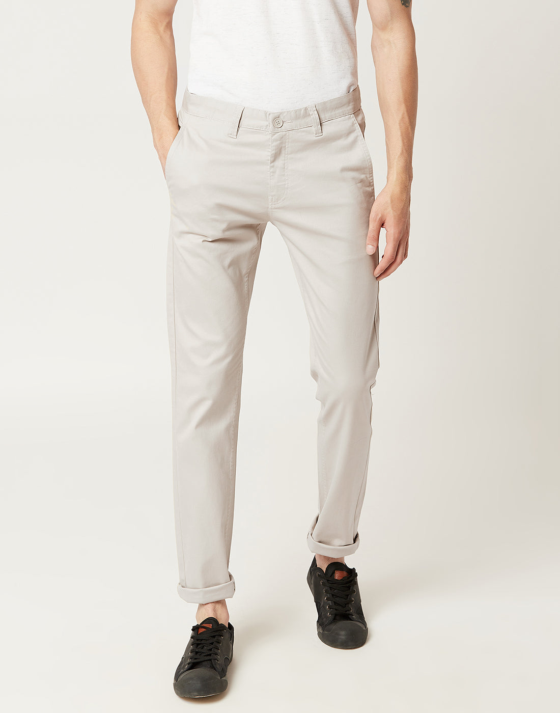 Octave Men Mastic Cream Chino Trousers