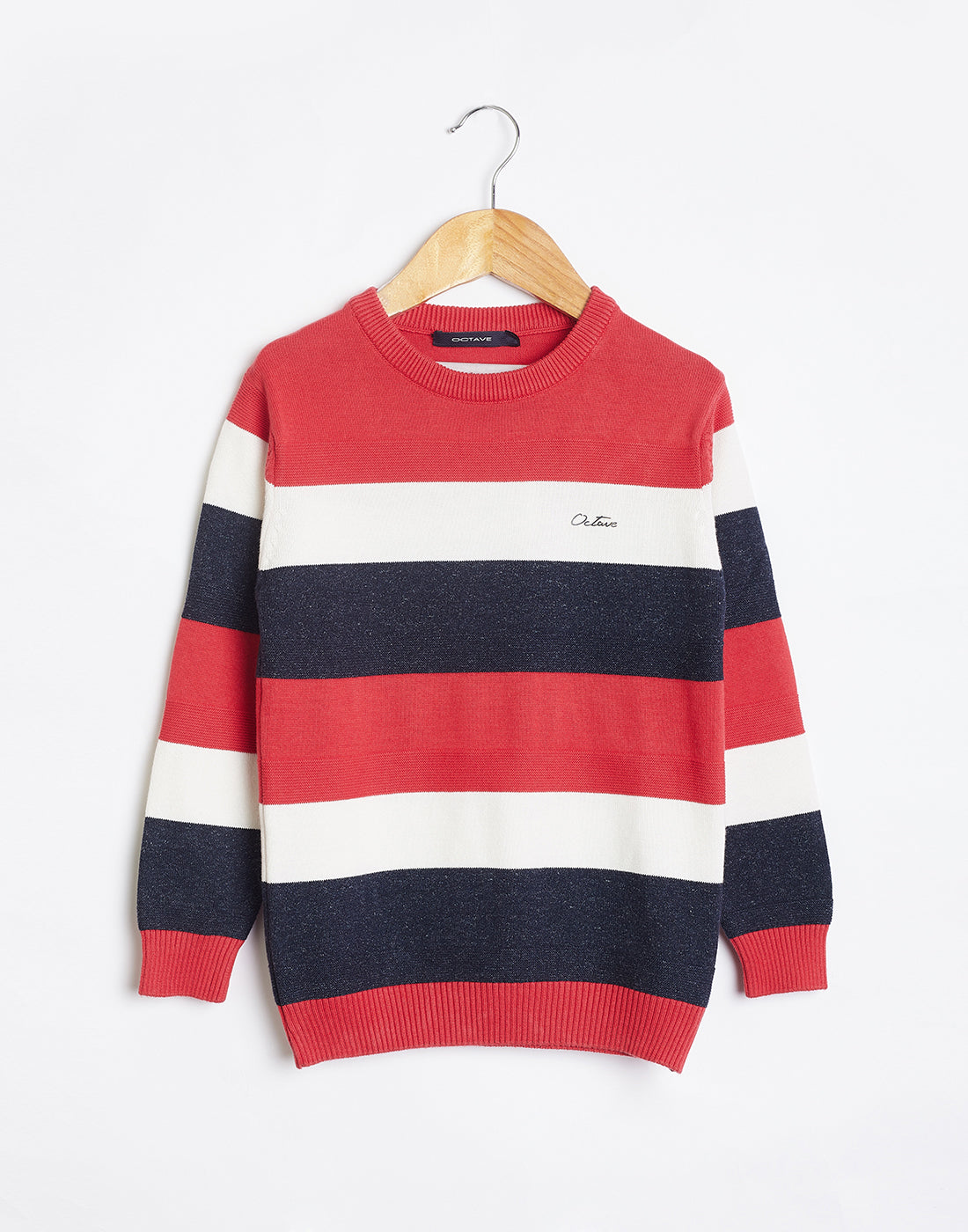Octave Boys Miami Red Striped Sweater