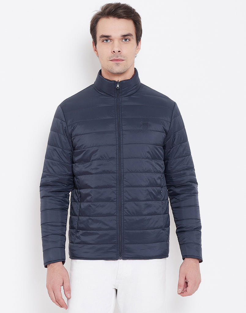 Mettle Navy Blue and Wine Reversible Jacket for Men