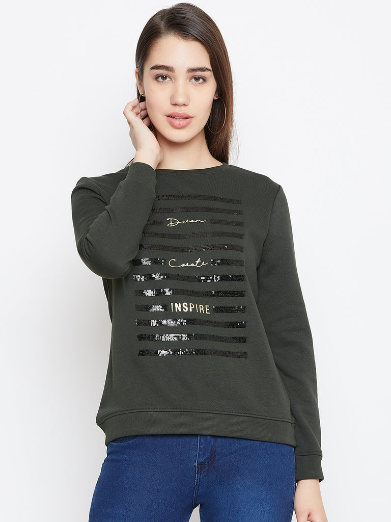 Octave Apparels Dark Olive T-Shirt for Women