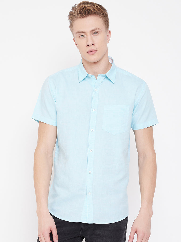 Octave Apparels Aqua Blue Shirt for Men