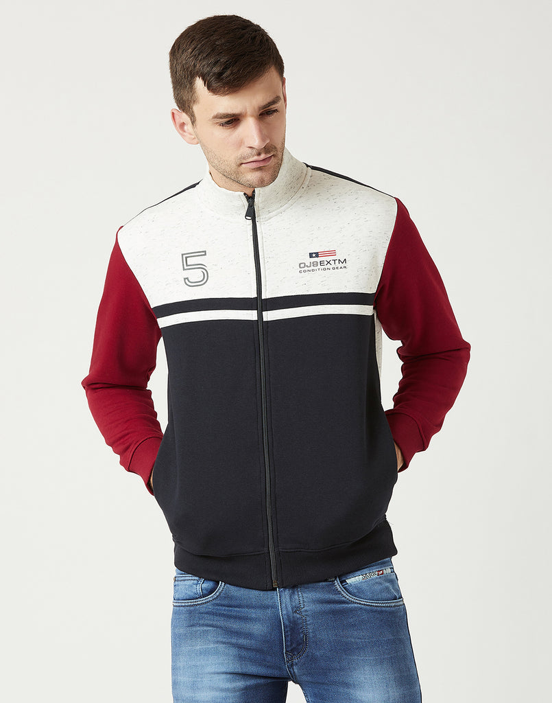 Octave Men Navy & Red Colourblocked Sweatshirt