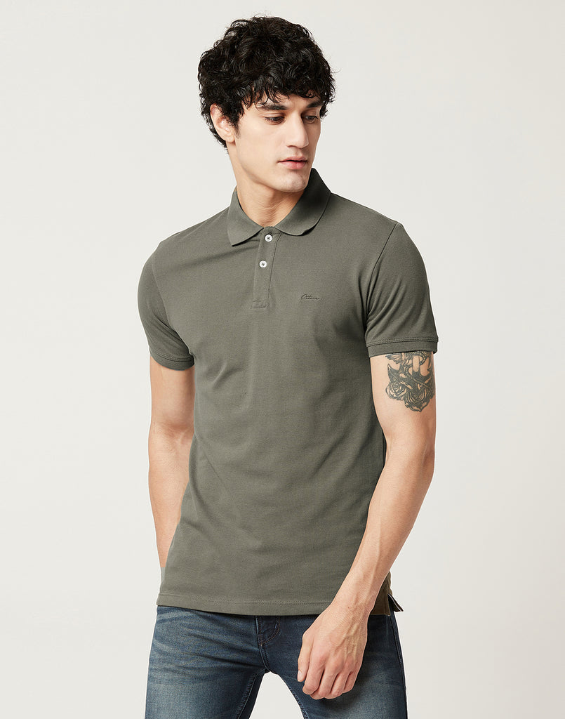 Octave Men Olive Green Polo T-shirt