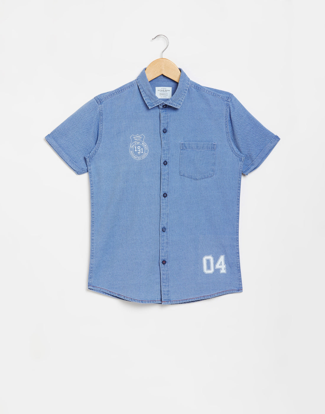 Octave Boys Ice Blue Denim Casual Shirt