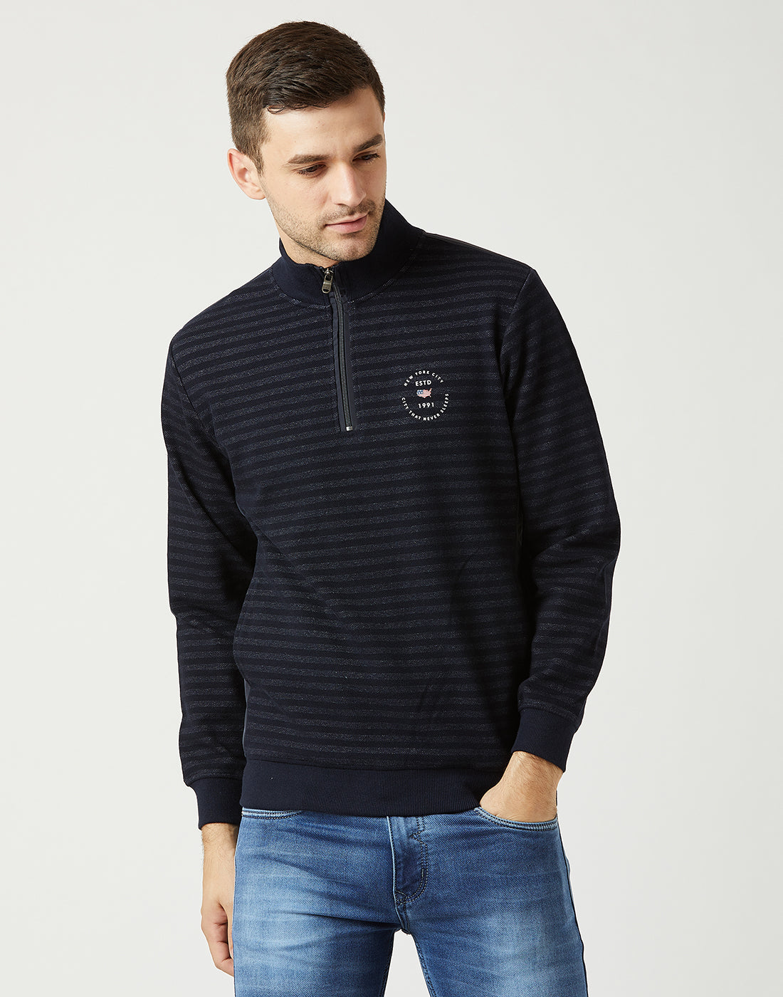Octave Men Navy Striped Sweatshirt