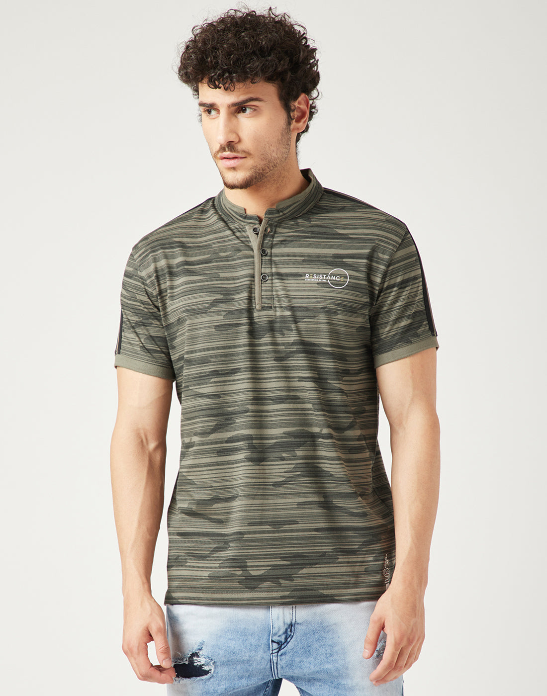 Octave Men Dark Olive Green Tshirt