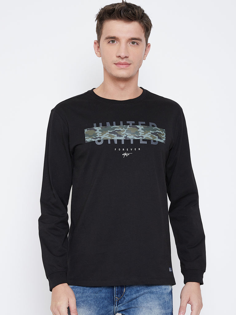 Octave Apparels black T-shirt for Men