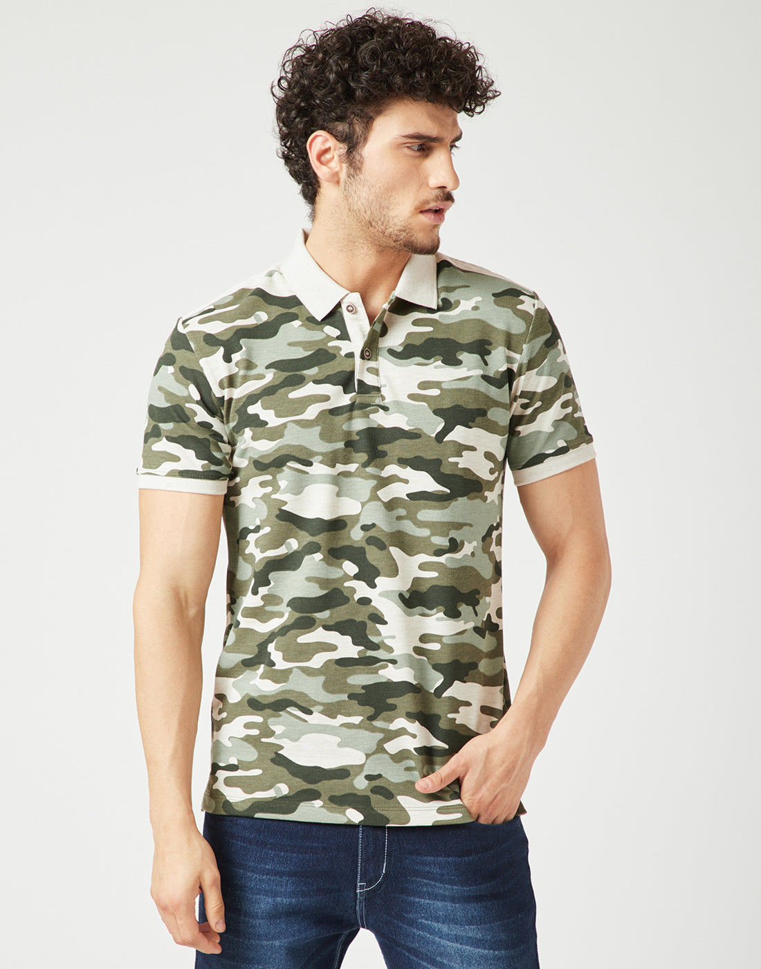 Octave Men Natural Camoflauge Printed Polo Tshirt