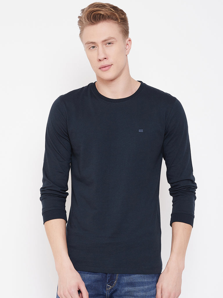 Octave Navy Blue T-Shirt for Men