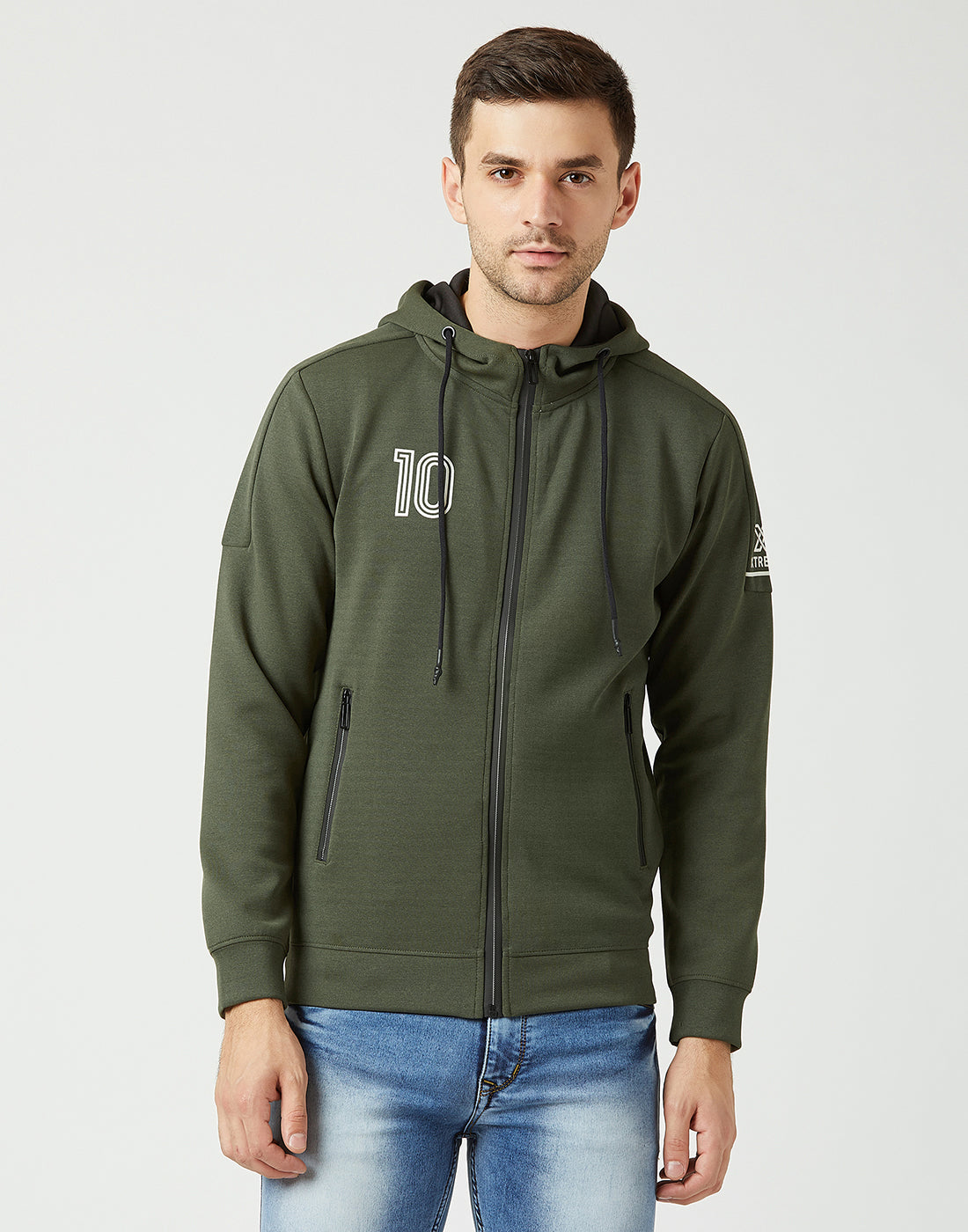 Octave Men Olive Melange Hooded Printed Sweatshirt
