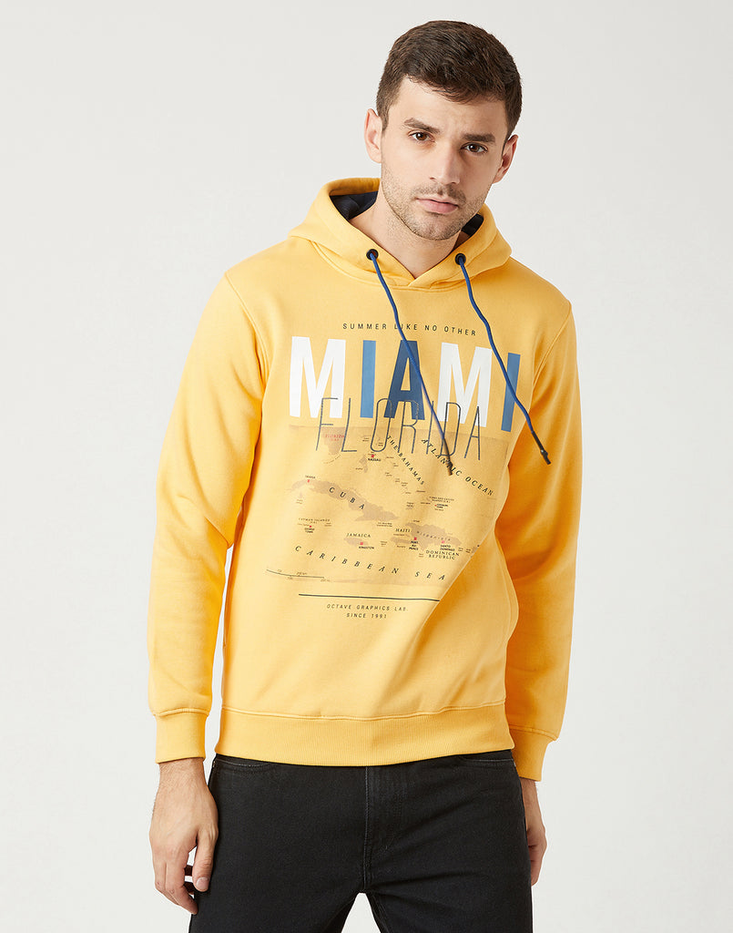 Octave Men Mango Yellow Melange Hooded Printed Sweatshirt