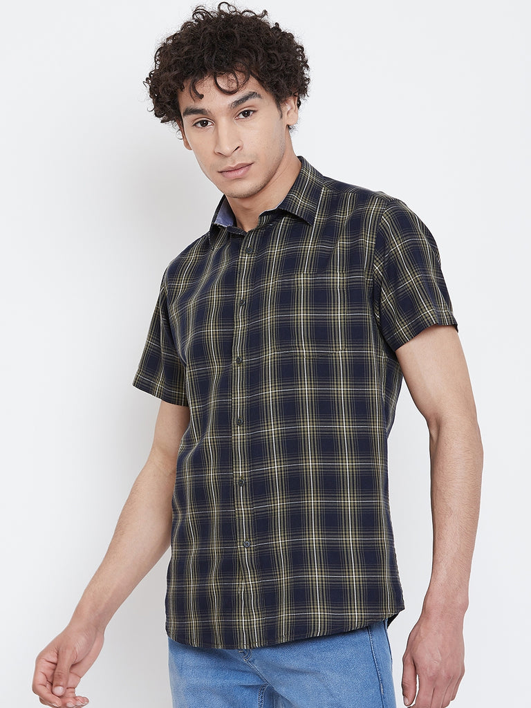 Octave Apparels Navy Blue Checkered Shirt for Men