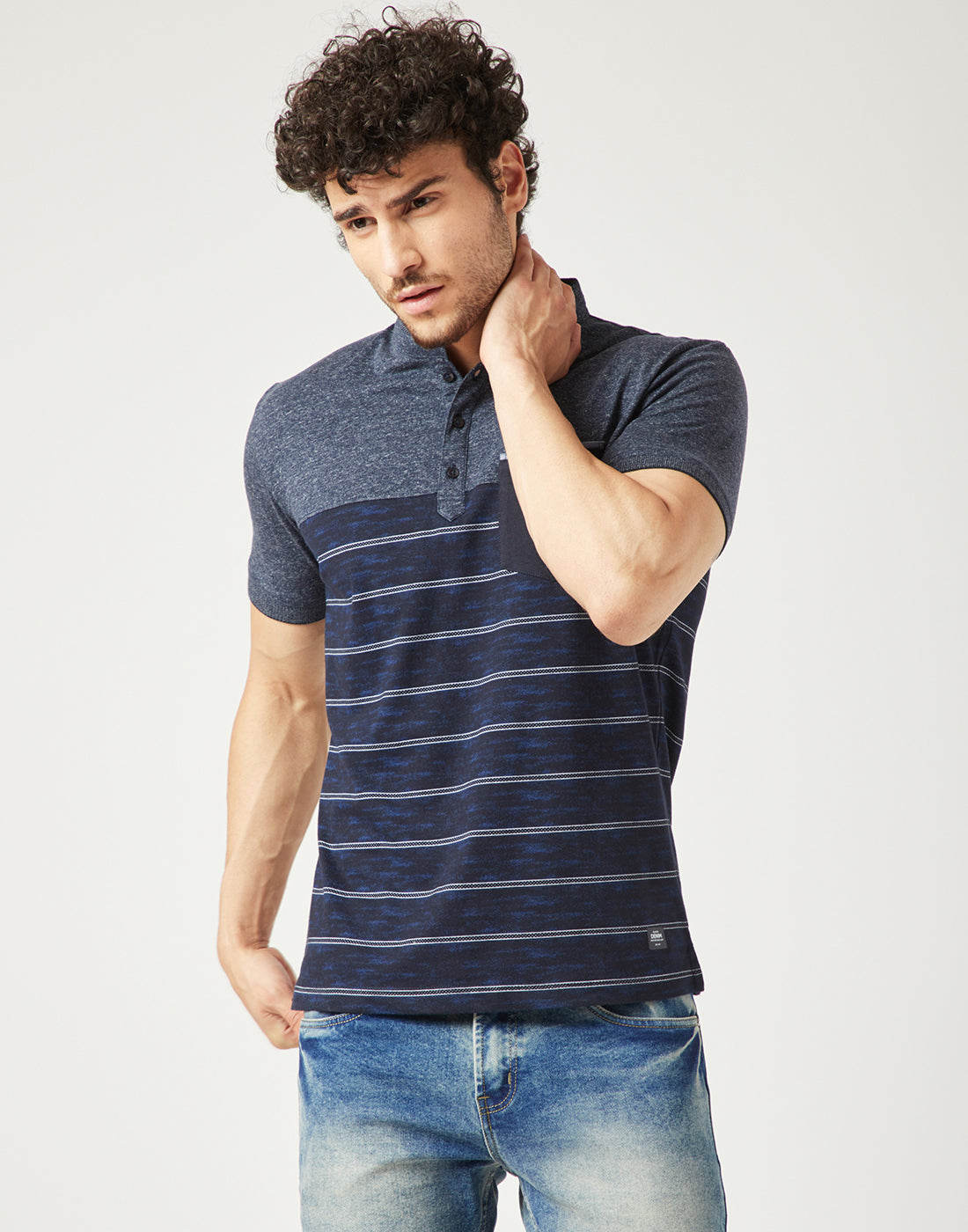 Octave Men Midnight Blue Striped Tshirt