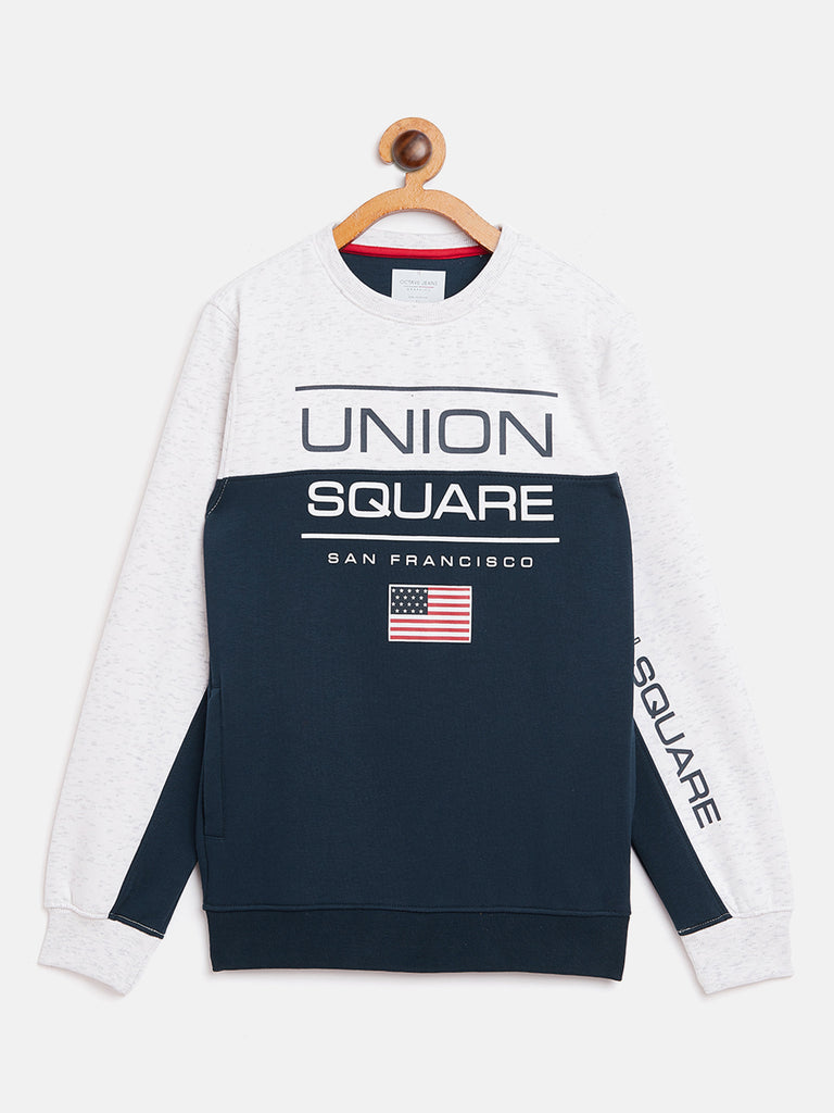 Octave apparels white mélange sweat shirt for kids