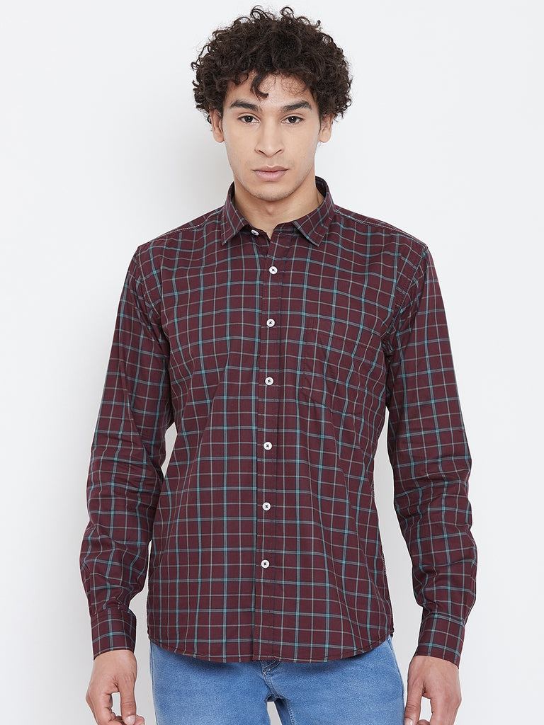 Octave Apparels Wine Checkered Shirt for Men