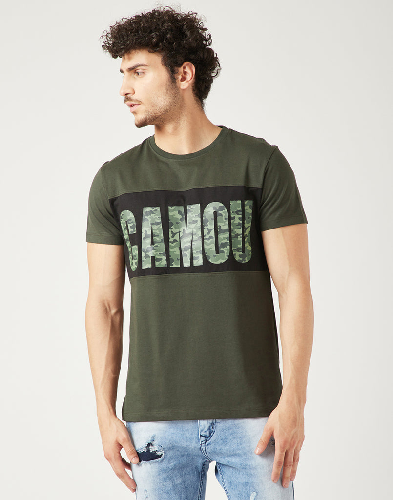 Octave Men Dark Olive Brown Printed Tshirt
