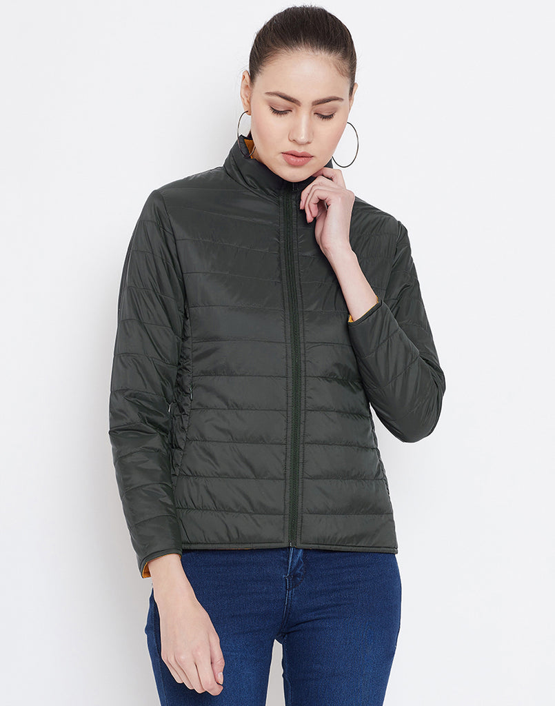 Mettle Reversible Dark Olive Quilted Jacket for Women