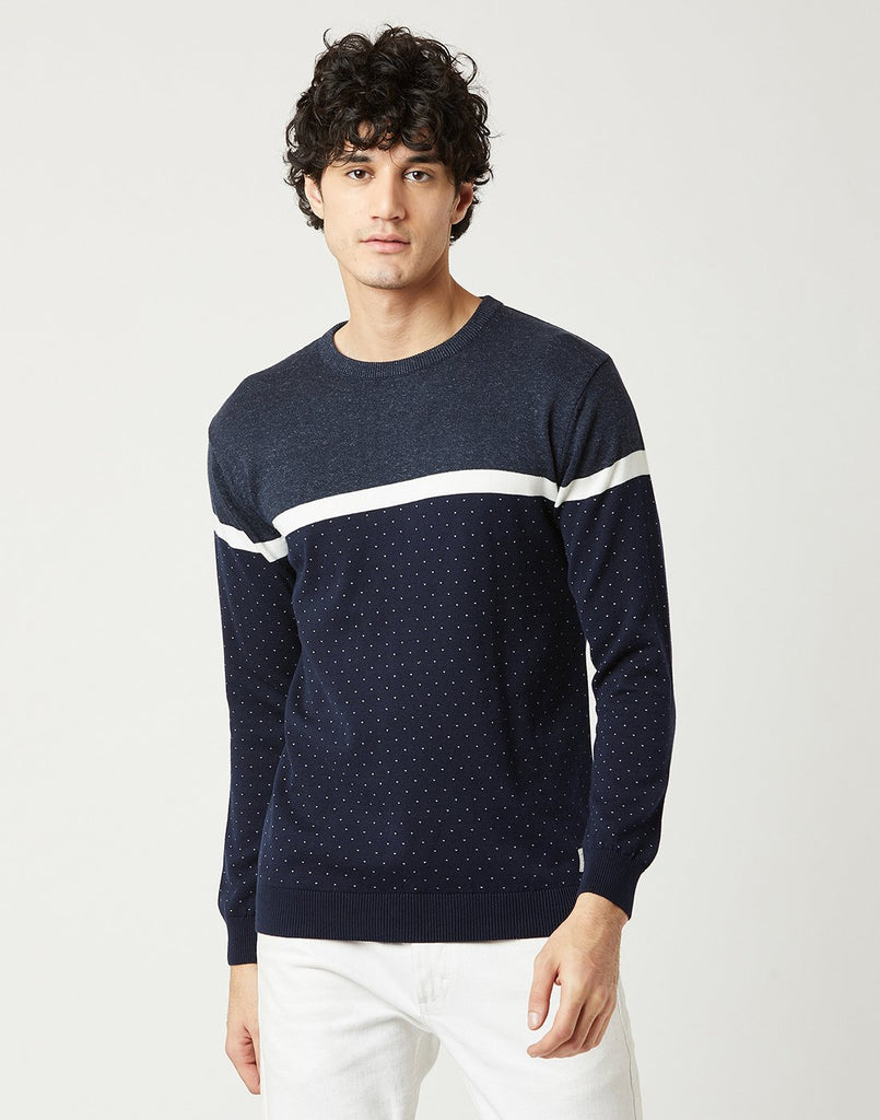 Mettle Men Midnight Blue Colourblocked Sweater