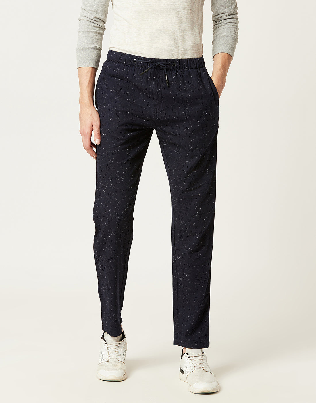 Octave Men Navy Flecked Trackpants