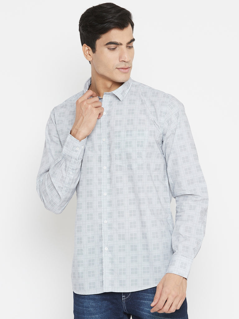Octave white color Shirt with square checks for men