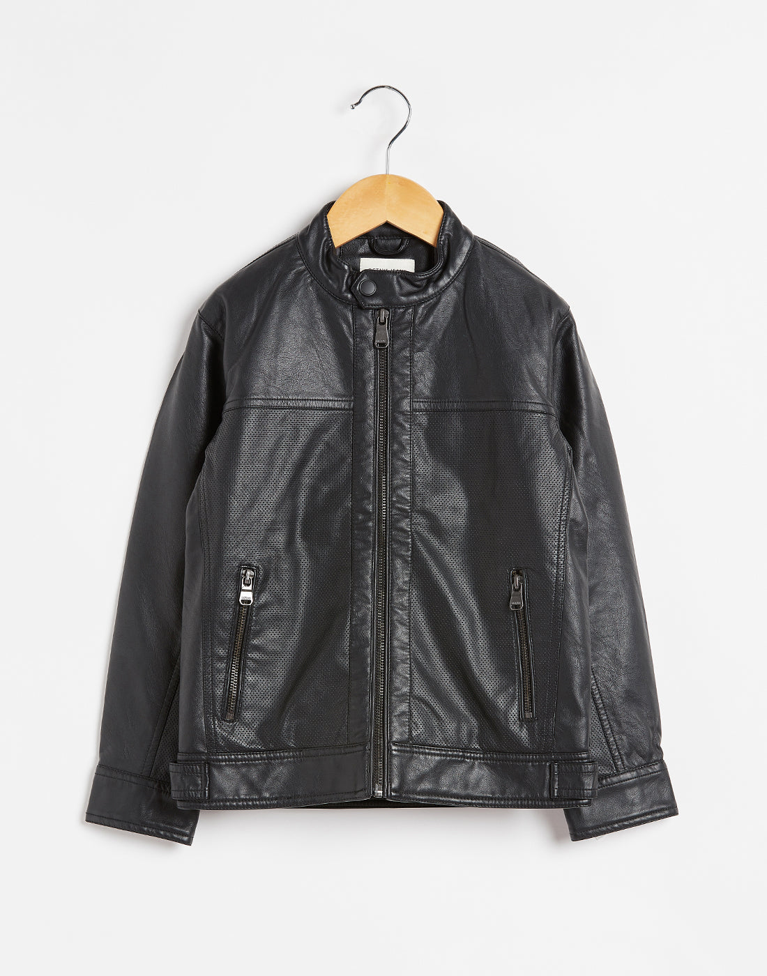 Octave Boys Black Leather Jacket