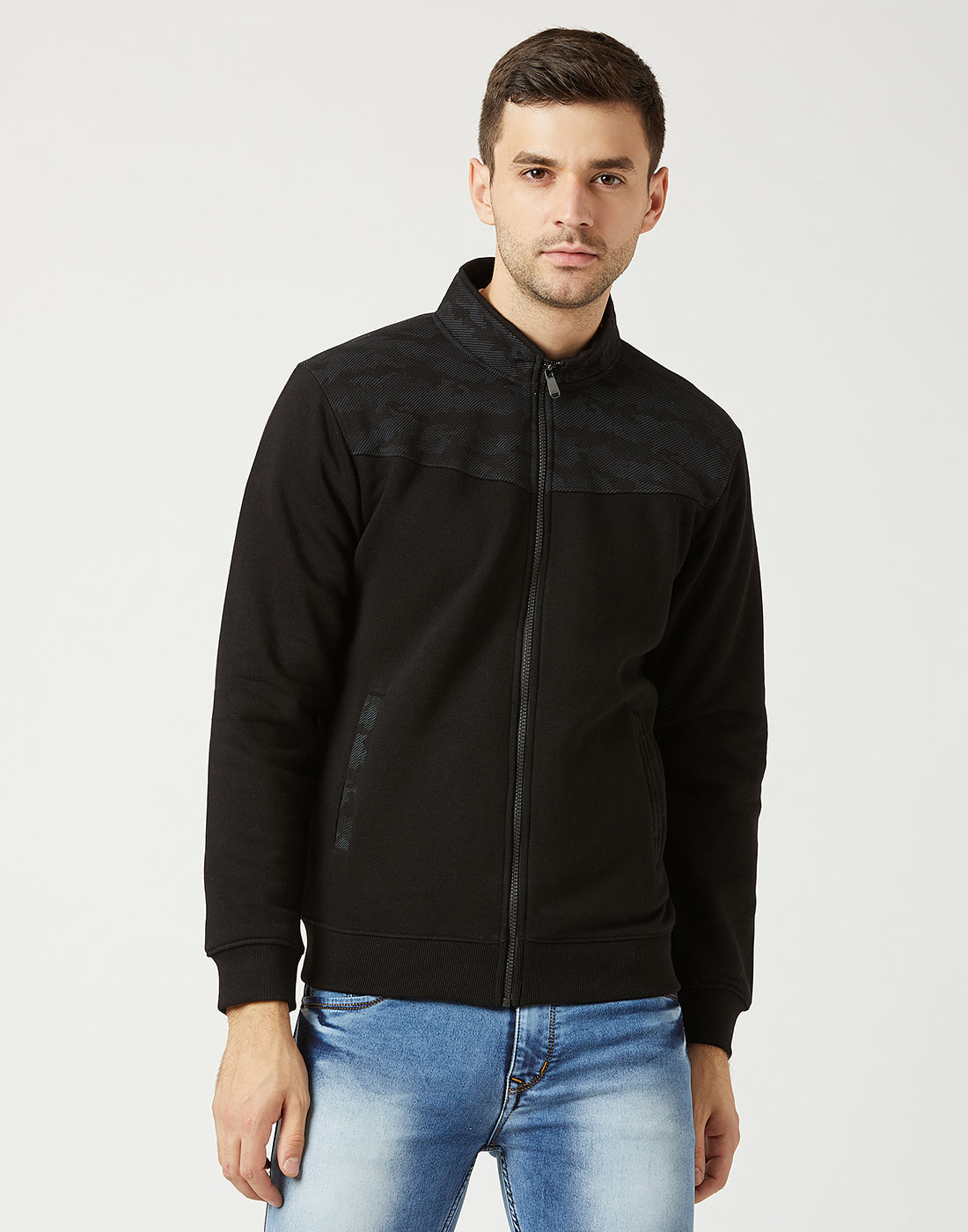 Octave Men Black Solid Sweatshirt