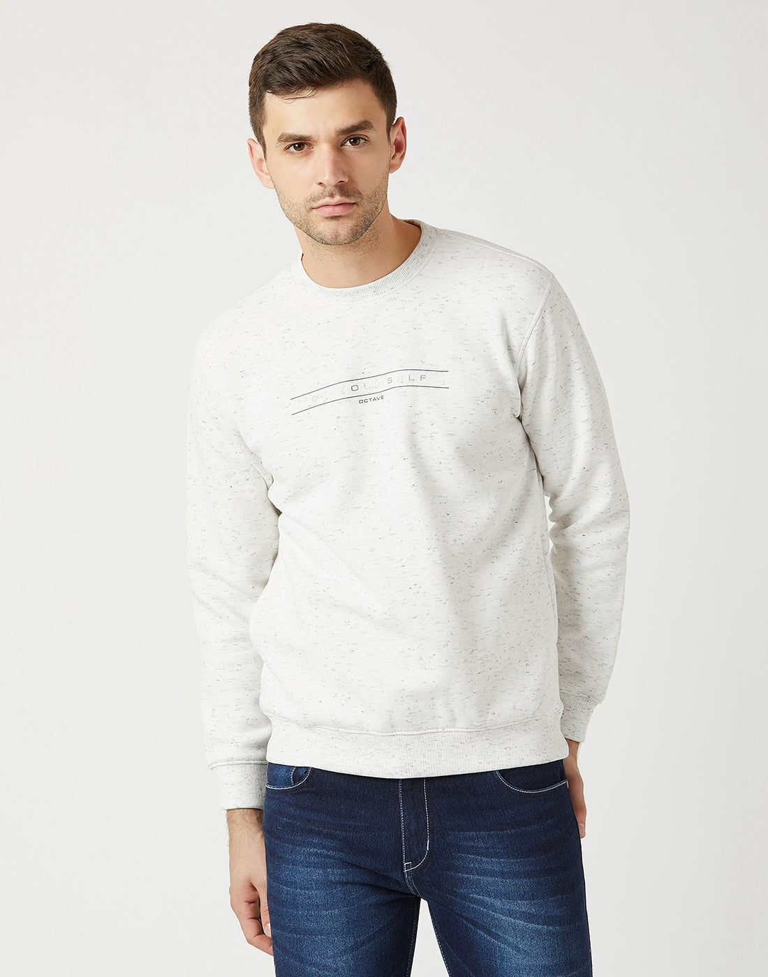 Octave Men White Melange Printed Sweatshirt
