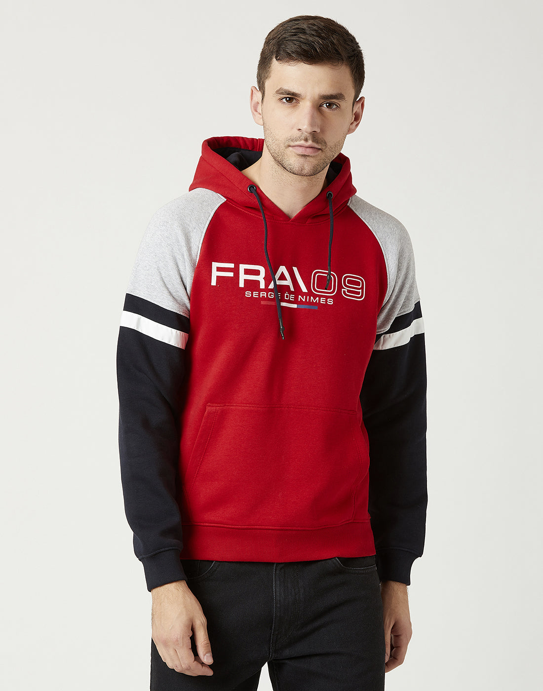Octave Men Brick Red Hooded Printed Sweatshirt