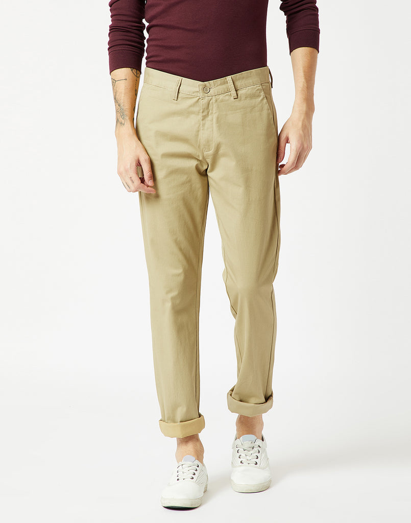 Octave Men Mustard Chino Trousers