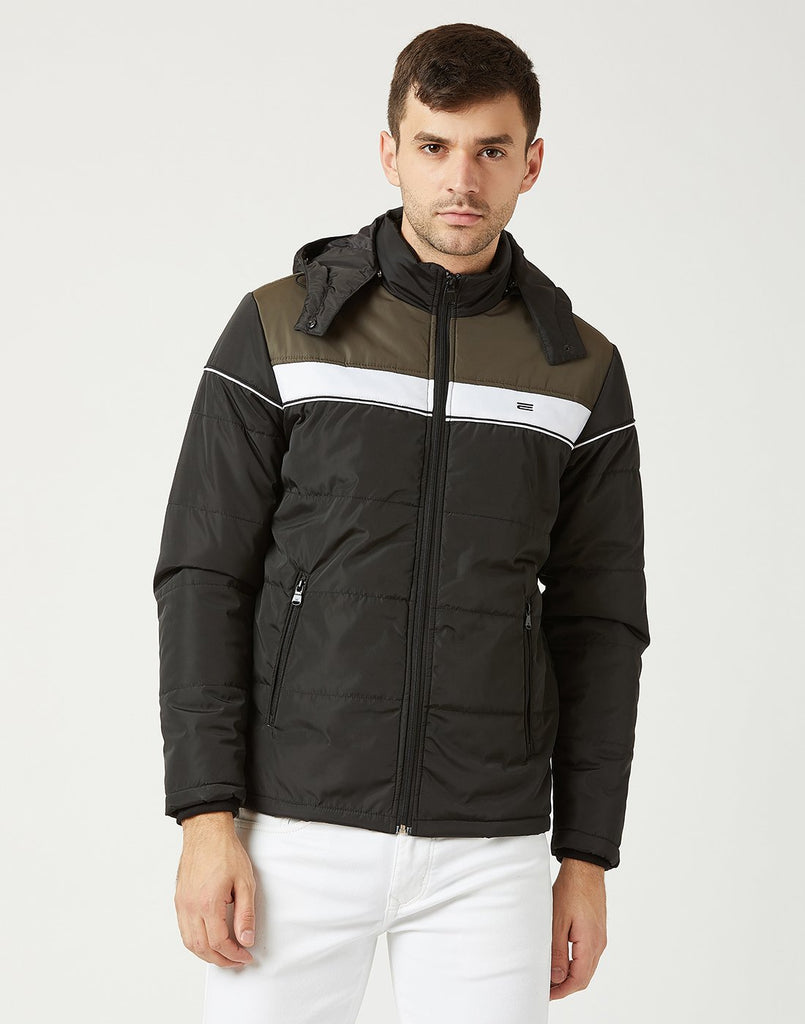 Mettle Men Black Hooded Jacket